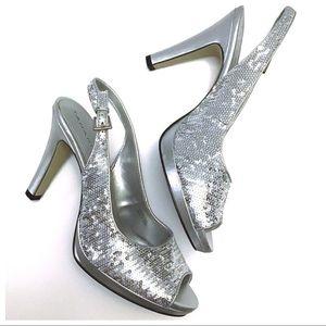 Tahari Festive Slingback Platform Heels - Size 9M